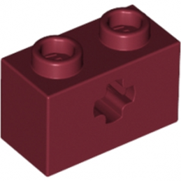 LEGO 4209392 BRIQUE 1X2 WITH CROSS HOLE - NEW DARK RED