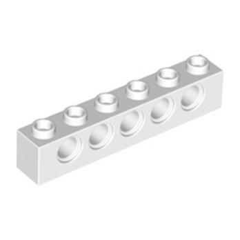 LEGO 389401 TECHNIC BRIQUE 1X6, Ø4,9 - BLANC lego-389401-technic-brique-1x6-o49-blanc ici :