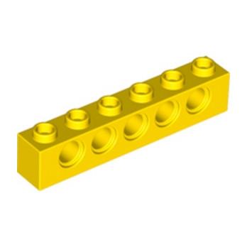 LEGO 389424 TECHNIC BRIQUE 1X6, Ø4,9 - JAUNE lego-389424-technic-brique-1x6-o49-jaune ici :