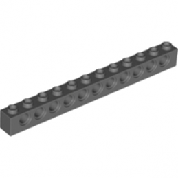 LEGO 4210963  TECHNIC BRIQUE 1X12, Ø4,9 - DARK STONE GREY