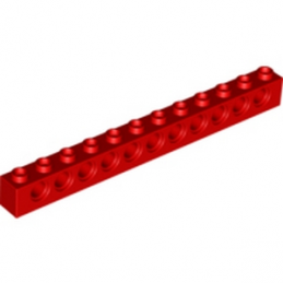 LEGO 389521 TECHNIC BRIQUE 1X12, Ø4,9 - ROUGE
