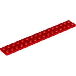 LEGO 428221 PLATE 2X16 - ROUGE