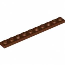 LEGO 4223683 PLATE 1X10 - REDDISH BROWN lego-4223683-plate-1x10-reddish-brown ici :