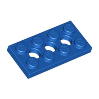 LEGO 370923 PLATE 2X4, 3XØ4.9 - BLEU