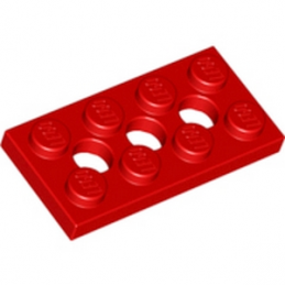 LEGO 370921 PLATE 2X4, 3XØ4.9 - ROUGE