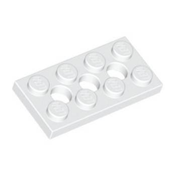 LEGO 370901 PLATE 2X4, 3XØ4.9 - BLANC