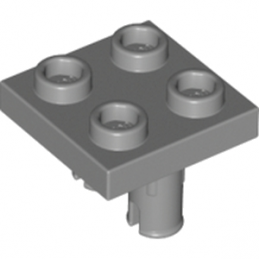 LEGO 6066952 PLATE 2X2 INVERTED W. 2 SNAP - DARK STONE GREY