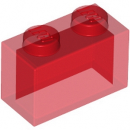 LEGO 306541 BRIQUE 1X2 - ROUGE TRANSPARENT