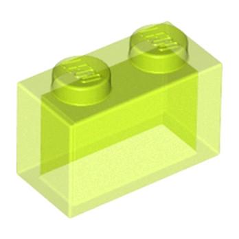LEGO 6081496 BRIQUE 1X2 - JAUNE FLUO TRANSPARENT