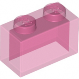 LEGO 4129873 BRIQUE 1X2 - ROSE TRANSPARENT