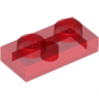 LEGO 4101688 PLATE 1X2 - ROUGE TRANSAPRENT