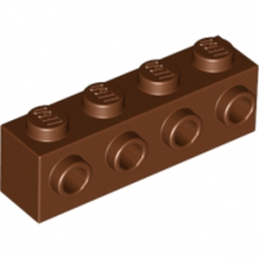 LEGO 6153594 BRIQUE 1X4 W. 4 KNOBS - REDDISH BROWN