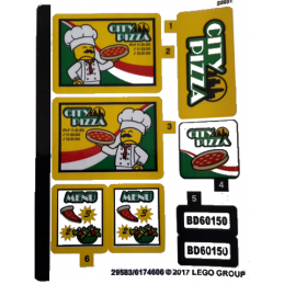 Stickers / Autocollant Lego City  Camion Pizza 60150
