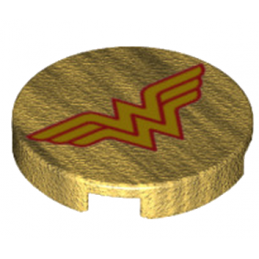 LEGO 6174843 ROND 2X2 - IMPRIME WONDER WOMAN - WARM GOLD