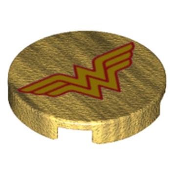 LEGO 6174843 ROND 2X2 - IMPRIME WONDER WOMAN - WARM GOLD