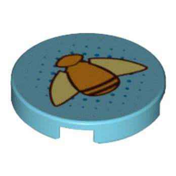 LEGO 6174222 IMPRIME  ROND 2X2 - MEDIUM AZUR