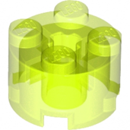 LEGO 611649 BRIQUE RONDE Ø16 W. CROSS - JAUNE FLUO TRANSPARENT