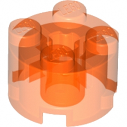 LEGO 611647 BRIQUE RONDE Ø16 W. CROSS - ORANGE FLUO TRANSPARENT