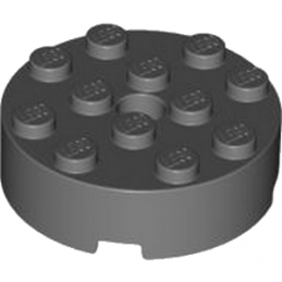LEGO 4558959 BRIQUE RONDE 4X4 - DARK STONE GREY