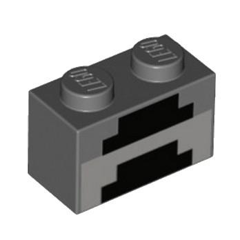 LEGO 6216860 BRIQUE1X2 IMPRIME MINECARFT - DARK STONE GREY