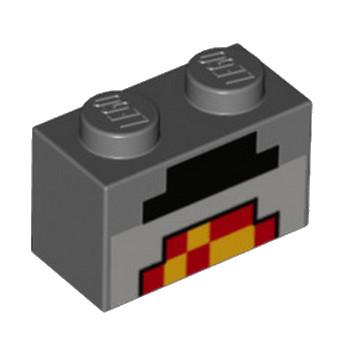 LEGO 6216862 BRIQUE1X2 IMPRIME MINECARFT - DARK STONE GREY