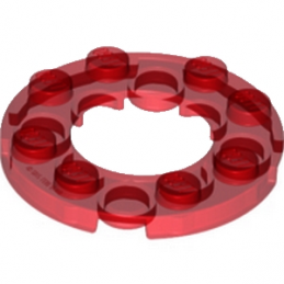 LEGO 6024294  PLATE ROND 4X4 + TROU Ø16MM - ROUGE TRANSPARENT