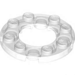 LEGO 6018931  PLATE ROND 4X4 + TROU Ø16MM - TRANSPARENT
