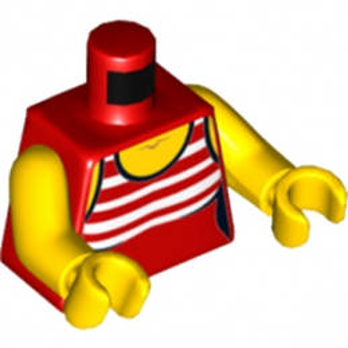 LEGO 6192107 TORSE FEMME - DEBARDEUR ROUGE RAYE
