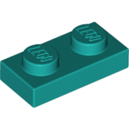 LEGO 6213777 PLATE 1X2 - BRIGHT BLUEGREEN