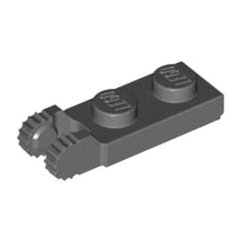 LEGO 4210884  PLATE 1X2 W/FORK/VERTICAL/END - DARK STONE GREY