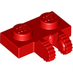 LEGO 6266205 PLATE 1X2 W/FORK, VERTICAL - RED