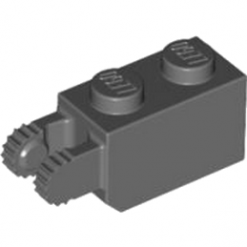 LEGO 4210724  BRIQUE 1X2/FRIC/FORK VERT./END - DARK STONE GREY