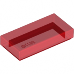 LEGO 4189801 PLATE LISEE 1X2 - ROUGE TRANSPARENT