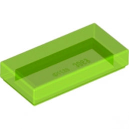 LEGO 6139003 PLATE LISSE 1X2 - VERT FLUO TRANSPARENT