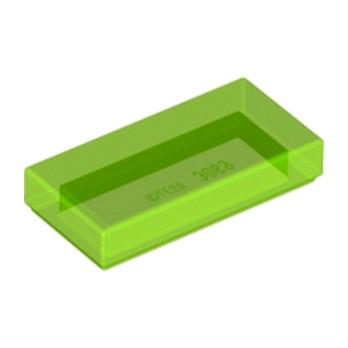 LEGO 6251298 PLATE LISSE 1X2 - VERT FLUO TRANSPARENT