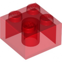 LEGO 4143335 BRIQUE 2X2 - ROUGE TRANSPARENT