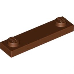 LEGO 6210077 PLATE 1X4 W. 2 KNOBS - REDDISH BROWN