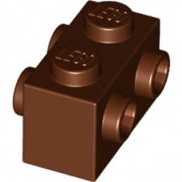 LEGO 6223599 BRIQUE 1X2 W. 4KNOBS - REDDISH BROWN