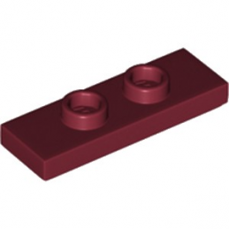 LEGO 6208727 PLATE 1X3 W/ 2 KNOBS - NEW DARK RED