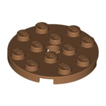 LEGO 6167647 - PLATE 4X4 ROUND W. SNAP - Médium Nougat