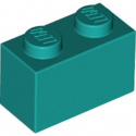 LEGO 6217659 BRIQUE 1X2 - BRIGHT BLUEGREEN
