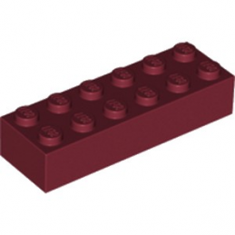 LEGO 6089268 - Brique 2X6 - New Dark Red lego-6089268-brique-2x6-new-dark-red ici :