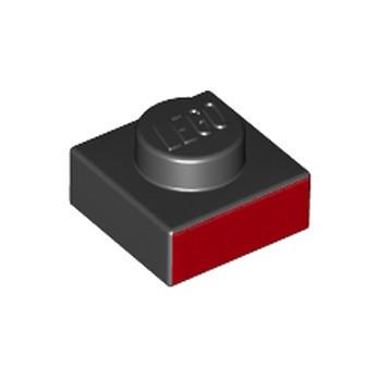 LEGO 6253609 BRIQUE PLATE 1X1 - IMPRIME NOIR/ROUGE