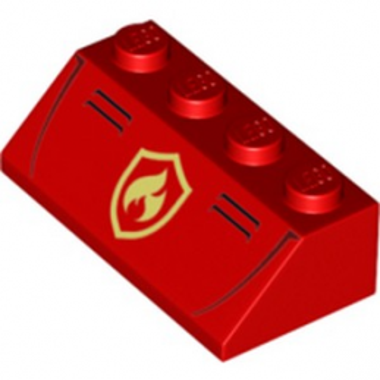 LEGO 6252550 TUILE 2X4 IMPRIME POMPIER - ROUGE
