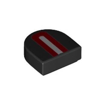 LEGO 6256887 LISSE IMPRIME 1X1, 1/2 CIRCLE - NOIR/ROUGE