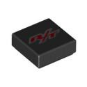 LEGO 6256883 LISSE IMPRIME 1X1 - NOIR/ROUGE