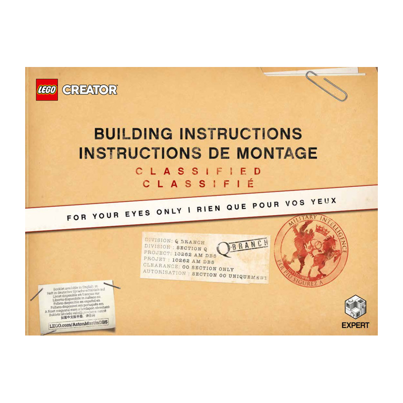 Notice / Instruction Lego Creator James Bond Aston Martin DB5 10262