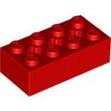 LEGO 6244918 BRIQUE 2X4 W/ CROSS HOLE - ROUGE