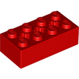 LEGO 6244918 BRIQUE 2X4 W/ CROSS HOLE - ROUGE