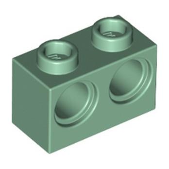 LEGO 6283412 BRIQUE 1X2 M. 2 HOLES Ø 4,87 - SAND GREEN